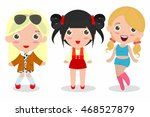 set of cute fashion teenage... | Shutterstock .eps vector #468527879