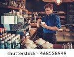 handsome barista tasting a new... | Shutterstock . vector #468538949