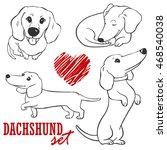 dachshund.set of cute cartoon... | Shutterstock .eps vector #468540038