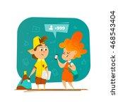 pupils communication in school. ... | Shutterstock .eps vector #468543404