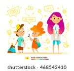 pupils characters communication   Shutterstock .eps vector #468543410