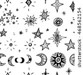 doodle planets and stars.... | Shutterstock . vector #468562154
