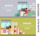 office work banners set. with... | Shutterstock .eps vector #468562400