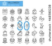 halloween   thin line and pixel ... | Shutterstock .eps vector #468580238