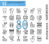 dentist elements   thin line... | Shutterstock .eps vector #468580304