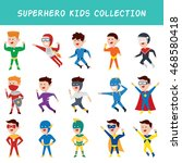 cartoon kid in superhero... | Shutterstock .eps vector #468580418