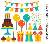 vector set of birthday party... | Shutterstock .eps vector #468581240