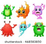 halloween monster set collection | Shutterstock .eps vector #468583850