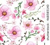 watercolor light pink flowers... | Shutterstock . vector #468585140