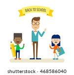 teacher in glasses with two... | Shutterstock .eps vector #468586040