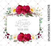 square floral vector frame with ...   Shutterstock .eps vector #468600248