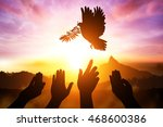 silhouette of many hand desire... | Shutterstock . vector #468600386