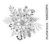 flower doodle vector  coloring... | Shutterstock .eps vector #468602894