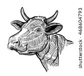 cow head  in a graphic style....   Shutterstock .eps vector #468604793
