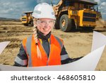 female worker at an open pit | Shutterstock . vector #468605810