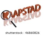 magnifying glass enlarging part of 3D word written in red letters - stock photo