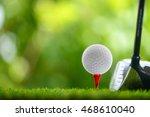 drive a golf ball on tee | Shutterstock . vector #468610040