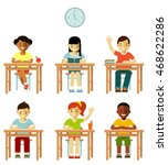 different school children class ... | Shutterstock .eps vector #468622286
