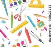 seamless pattern of stationery... | Shutterstock .eps vector #468623168
