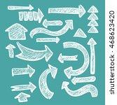 hand drawn arrow set in chalk... | Shutterstock .eps vector #468623420
