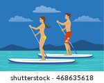 man and woman do stand up... | Shutterstock .eps vector #468635618