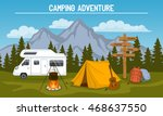 campsite with  camping tent ... | Shutterstock .eps vector #468637550