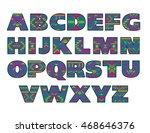 vector set of ornate capital... | Shutterstock .eps vector #468646376