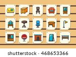 home furniture icons set eps10 | Shutterstock .eps vector #468653366