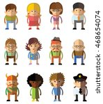 different people professions... | Shutterstock .eps vector #468654074