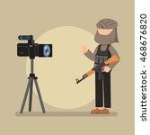 terrorist interview on camera | Shutterstock .eps vector #468676820