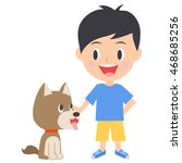 boy playing with  dog | Shutterstock .eps vector #468685256