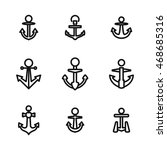 anchor vector icons. simple... | Shutterstock .eps vector #468685316