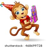 happy monkey cartoon... | Shutterstock .eps vector #468699728