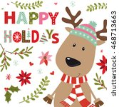 christmas card with reindeer... | Shutterstock .eps vector #468713663