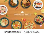 popular food on a wooden... | Shutterstock .eps vector #468714623