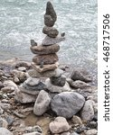 stack of balanced rocks beside... | Shutterstock . vector #468717506