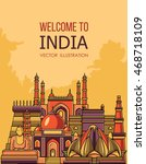 india skyline. vector... | Shutterstock .eps vector #468718109