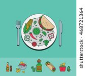 vector set of mexican food in a ... | Shutterstock .eps vector #468721364