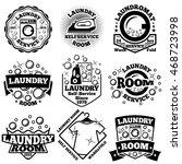 set of vector laundry badges.... | Shutterstock .eps vector #468723998