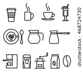 thin line flat coffee icons set