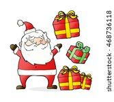 cartoon santa claus with... | Shutterstock . vector #468736118