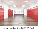 school lobby with red lockers.... | Shutterstock . vector #468739064