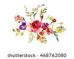 watercolor floral bouquet with... | Shutterstock . vector #468762080
