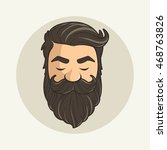 head hipster mustache and beard | Shutterstock .eps vector #468763826