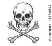 skull and crossbones for tattoo ... | Shutterstock .eps vector #468765833