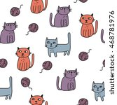 love cats. cartoon vector print | Shutterstock .eps vector #468781976