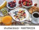 healthy breakfast.yogurt with... | Shutterstock . vector #468784226