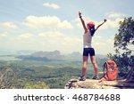 Cheering Woman Hiker Open Arms...