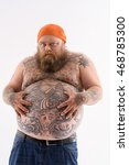 i am very hungry. fat man is... | Shutterstock . vector #468785300