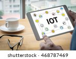 Stock photo iot business man hand working and internet of things iot word diagram as concept 468787469